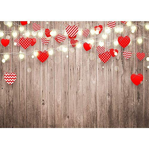 7x5ft Love Heart Backdrop for Photography Wood Background