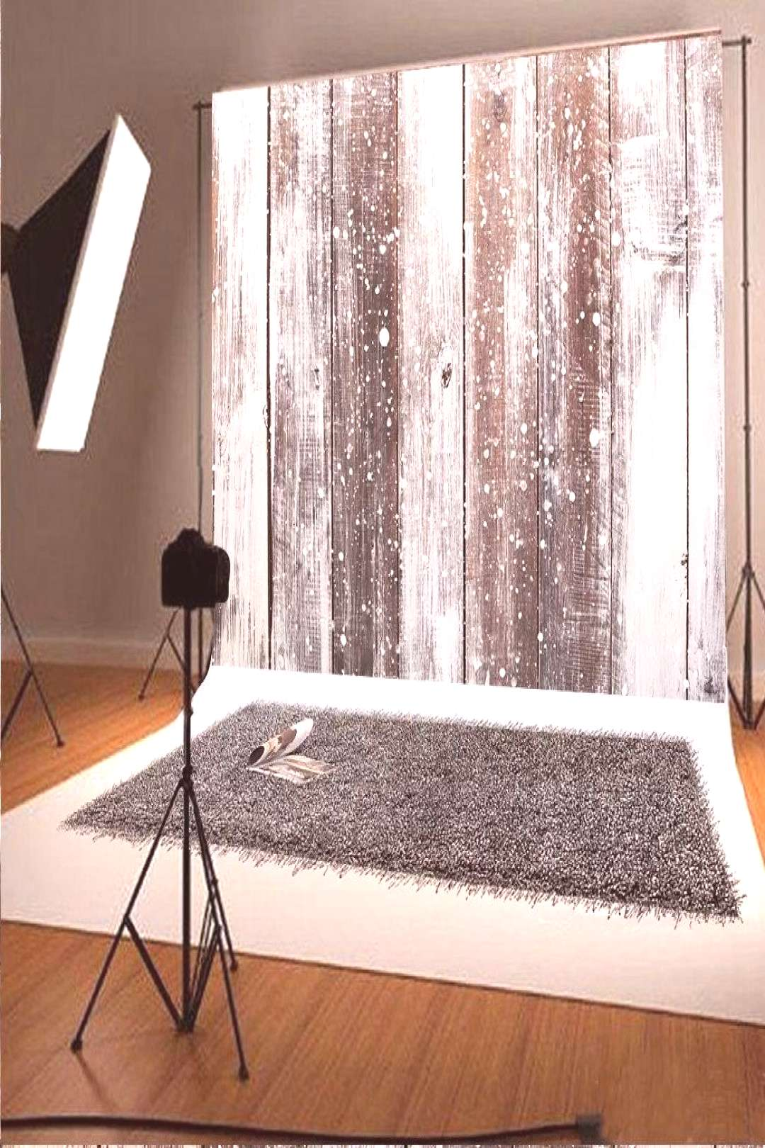 7x5ft White Snowing Board Wood Photography Backdrop Photo Background