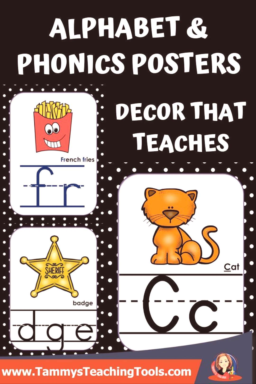 Alphabet and Phonics Anchor Charts with Black and White Background These alphabet and phonics sound