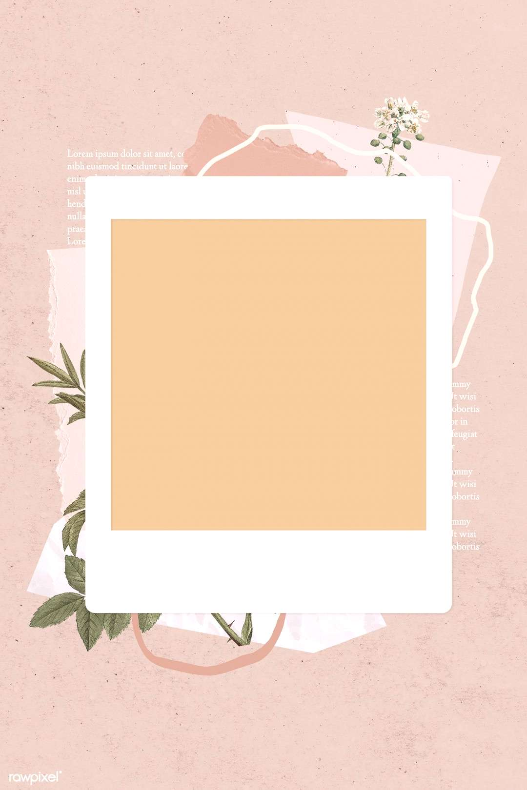 Blank collage photo frame template on beige background vector | premium image by / NingZk V.