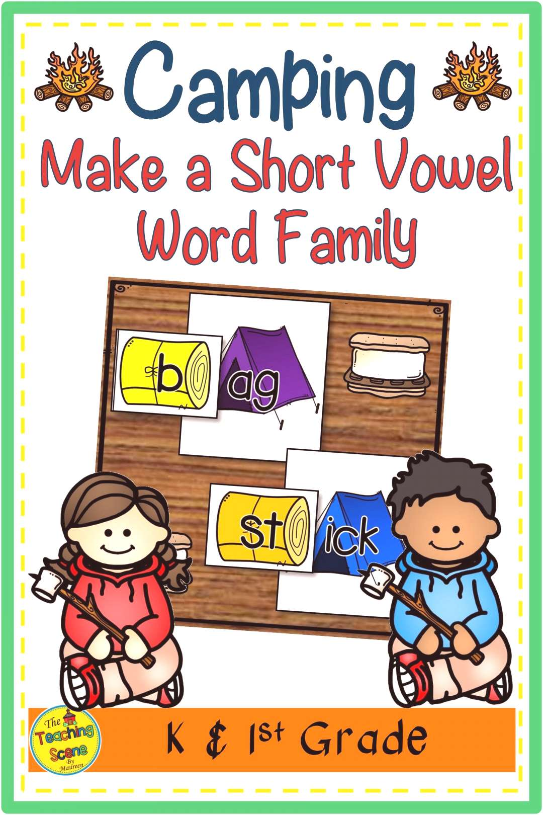 Camping Make a Short Vowel Word Family Phonics Game Do you need a camping phonics center or activit