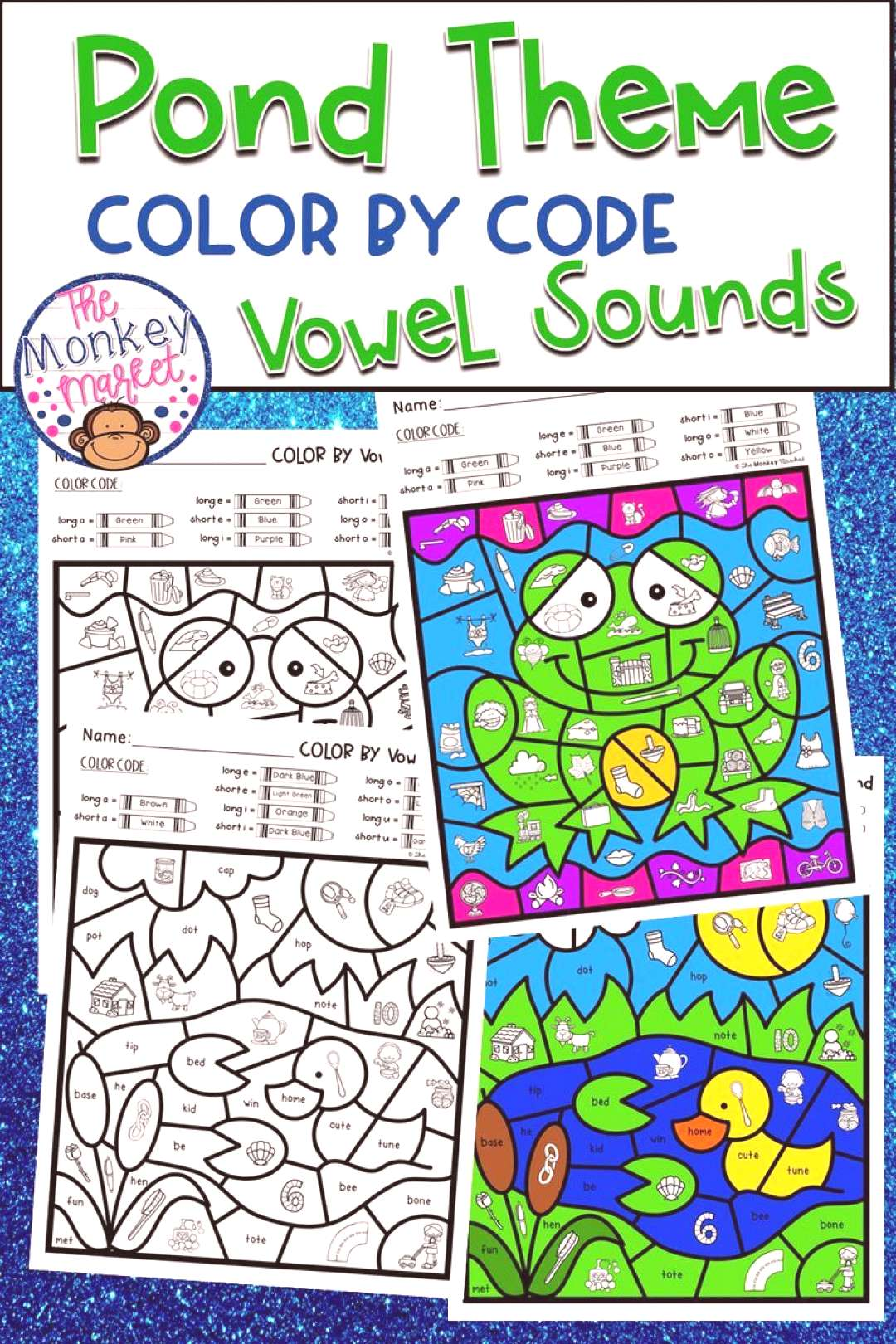 Color By Code Vowel Sounds - Pond These Pond Theme Color By Code worksheets are great for students