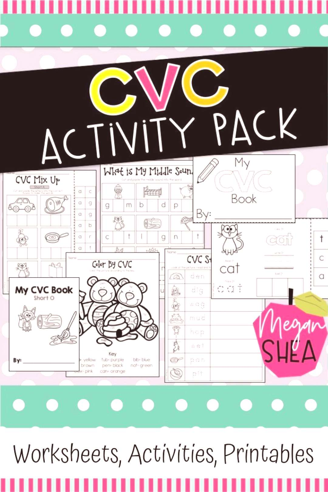 CVC Activity Pack for Kindergarten CVC Activities. This resource includes 27 pages of fun, CVC-them