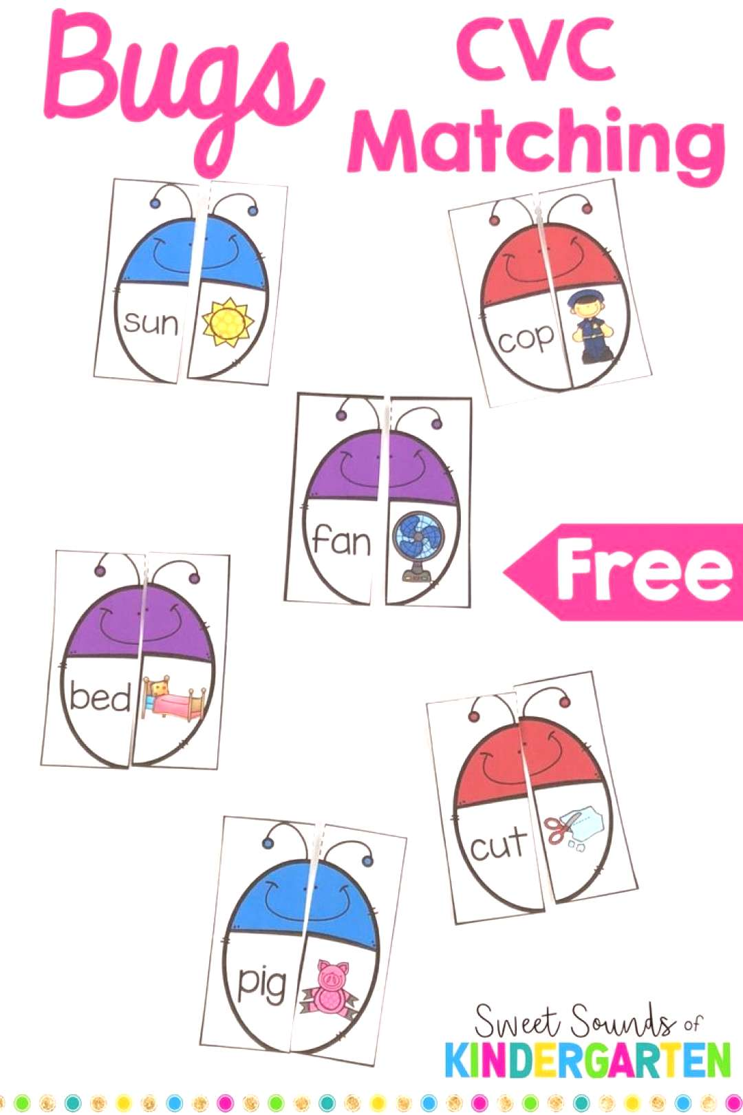 CVC Bugs Matching Game Looking for a new phonics activity for phonics? This game includes 48 differ