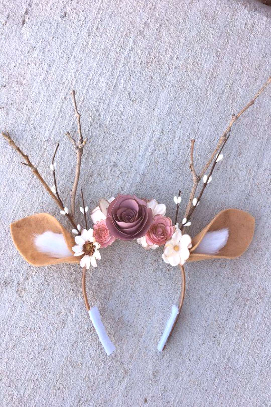 Deer Headband with Flowers amp Antlers- Deer Costume-Fits Kids and Adults-Halloween, Music Festivals,