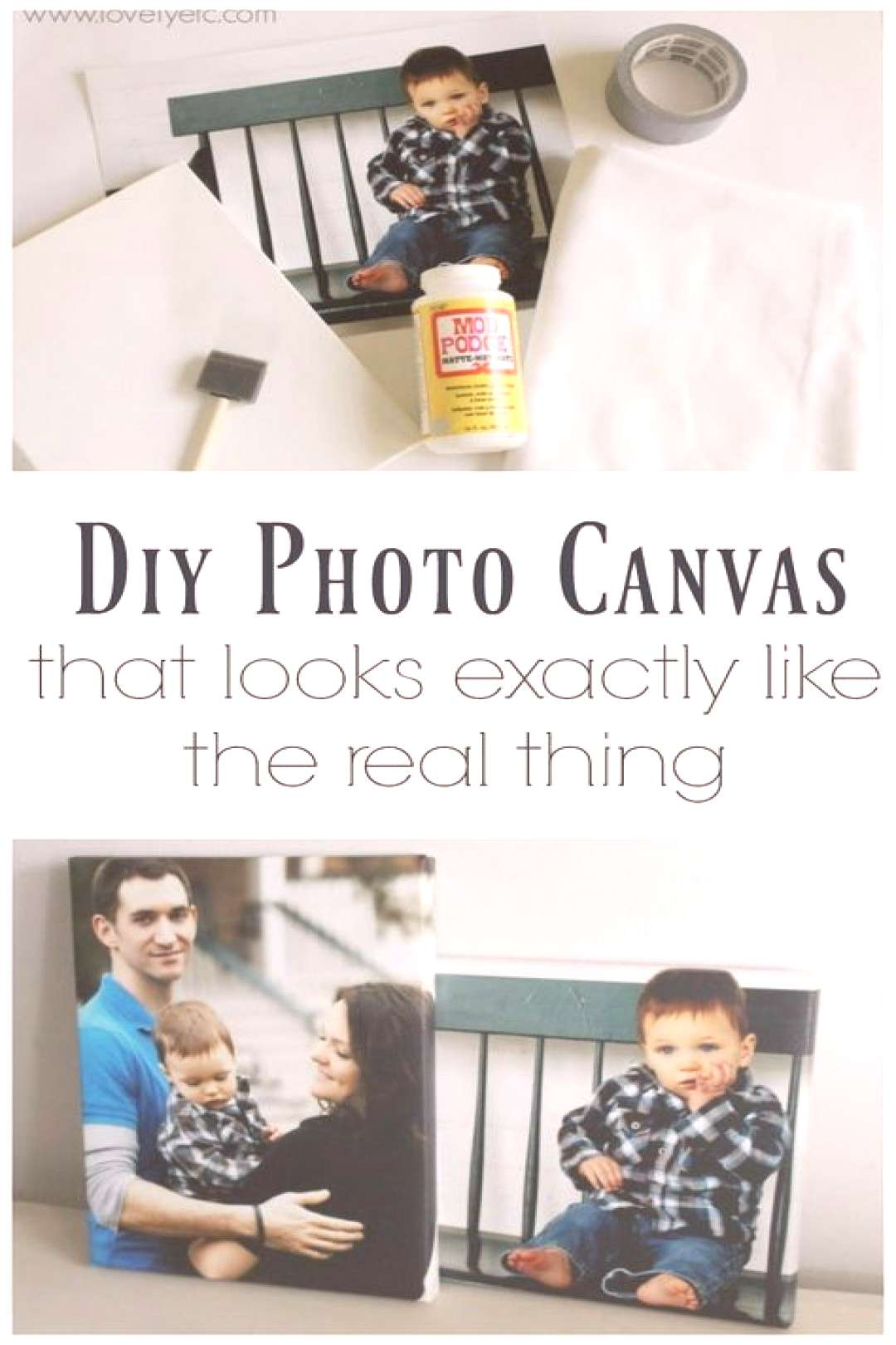 DIY photo canvases that look just like the real thing with real canvas texture and gallery wrapped