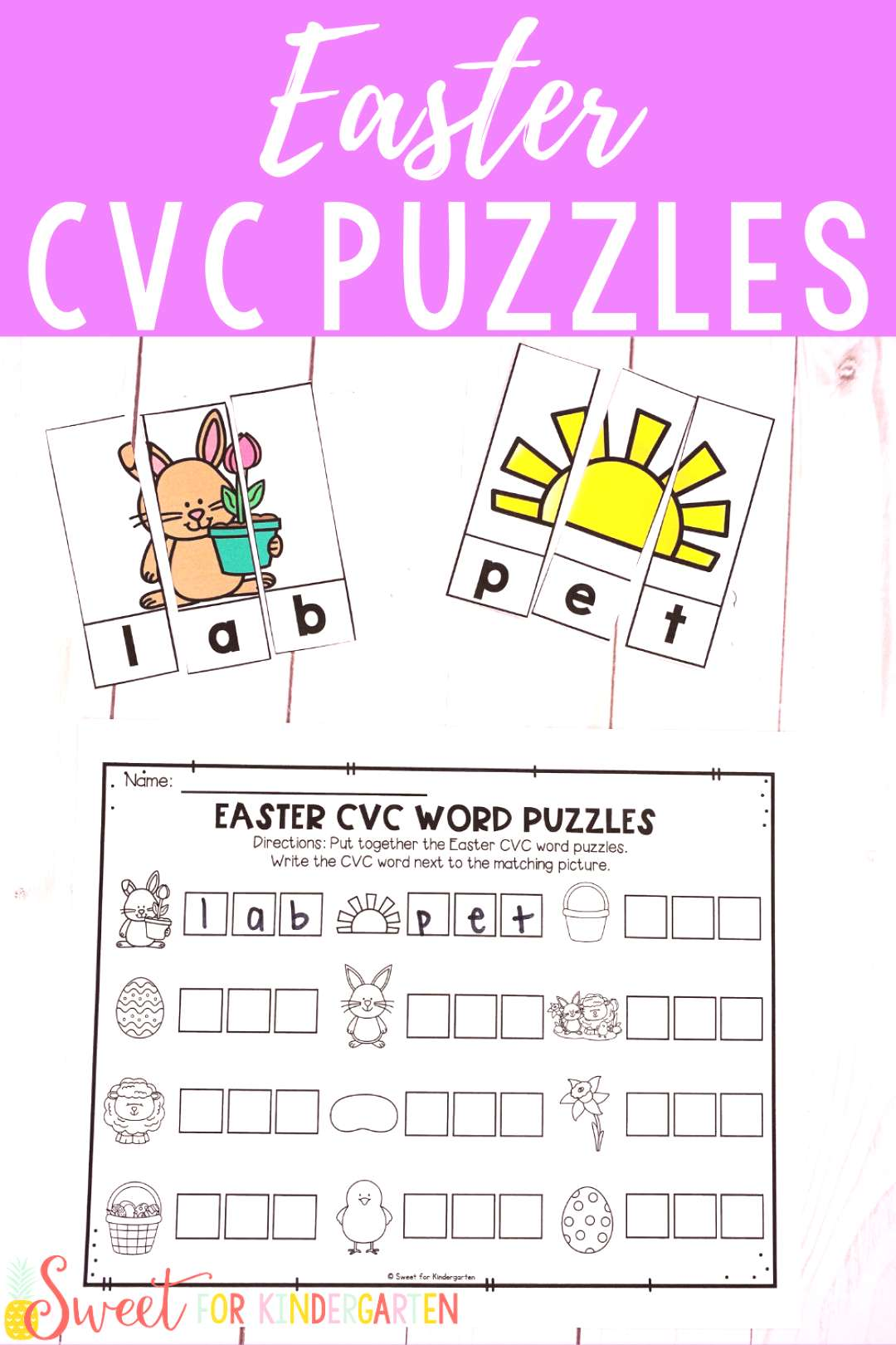 Easter CVC Word Puzzles Looking for a fun Kindergarten Easter activity? This literacy center focuse
