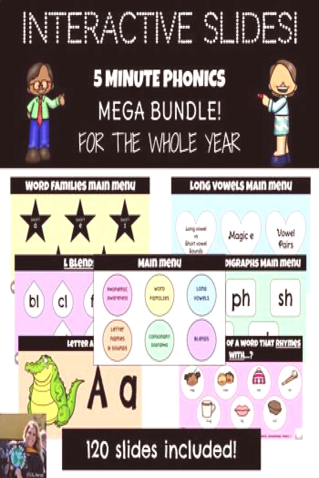 Editable Grade 1 Phonics Bundle! FOR THE YEAR! HUGE Bundle with 120 interactive slides for the scho