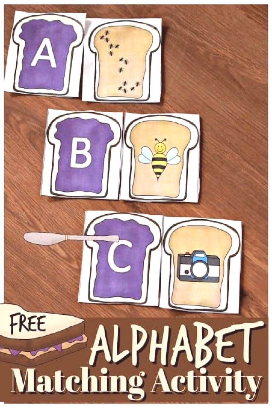 FREE Alphabet Peanut Butter and Jelly Activity - this free alphabet printable phonics game helps ki