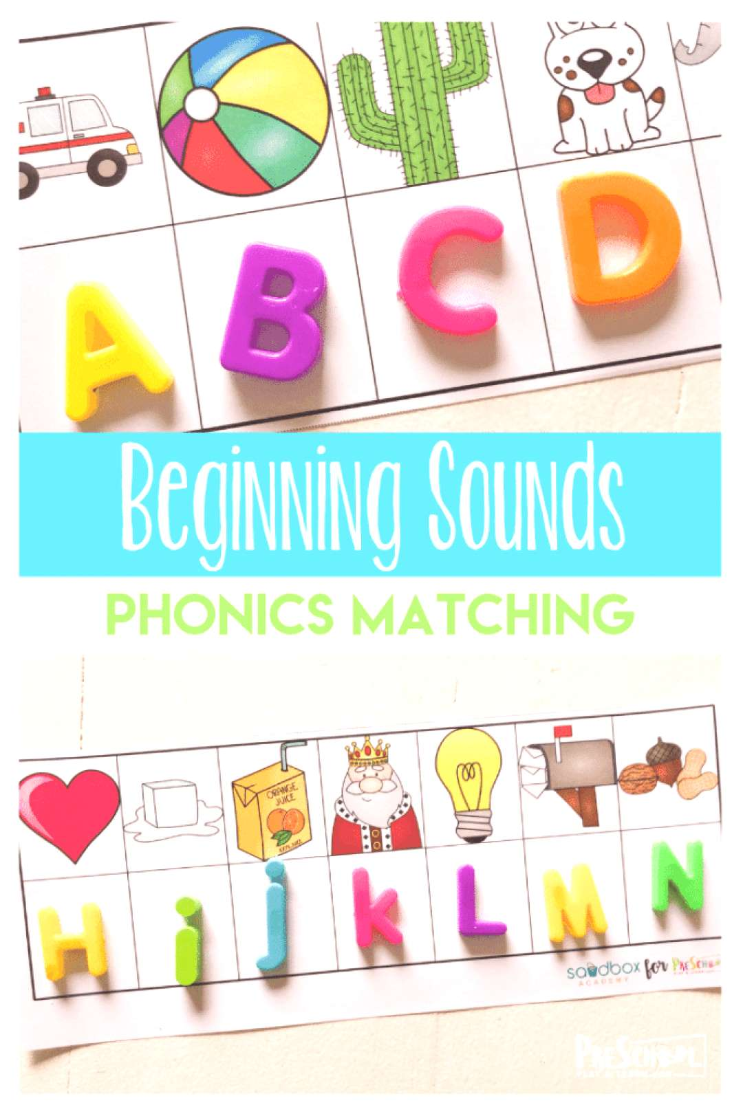 FREE Beginning Sounds Phonics Game - preschoolers will have fun using magnetic letters to practice