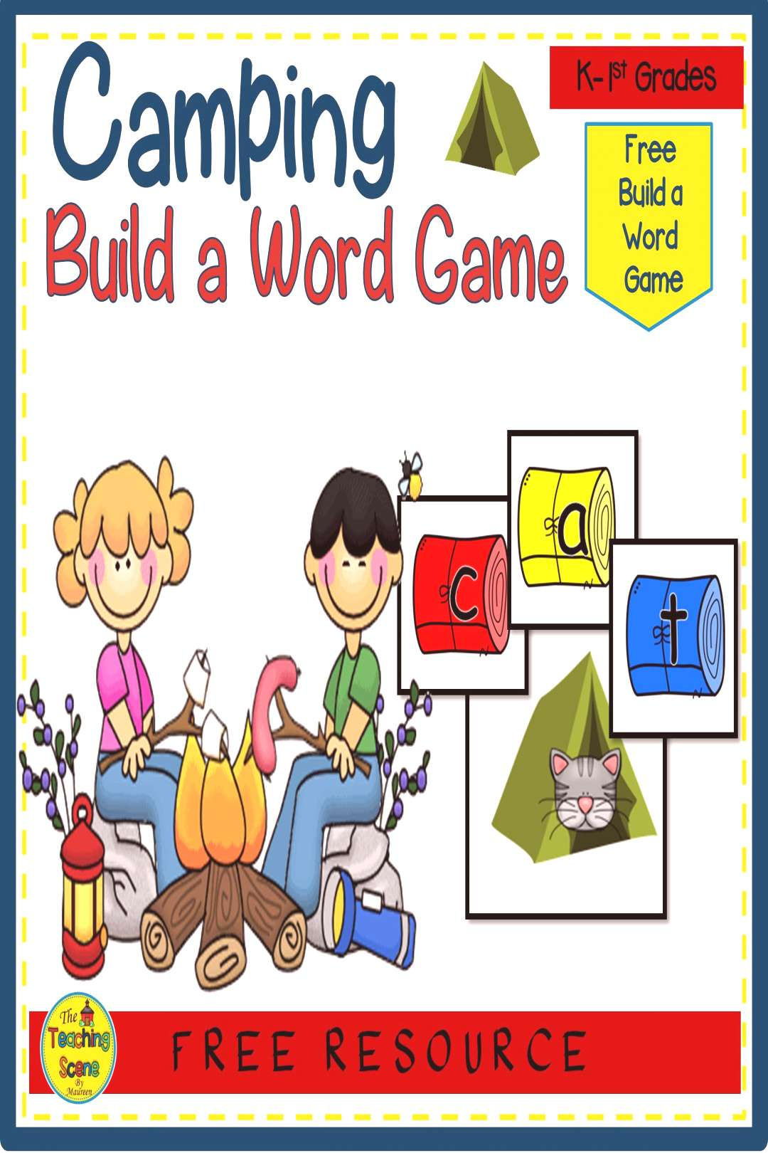 Free Camping Build a Short Vowel Word Game Are you looking for a free camping themed phonics game?