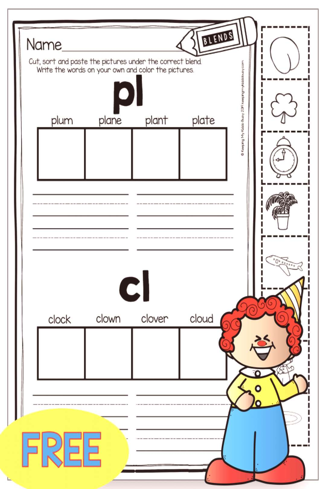 FREE Consonant Blends worksheet - phonics printables and activities for kindergarten and firs... FR