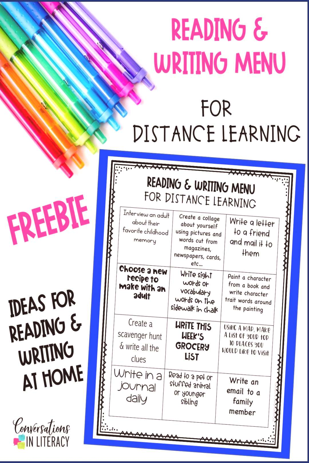 FREE Distance Learning Reading and Writing Menu FREE Distance Learning Reading and Writing Menu for
