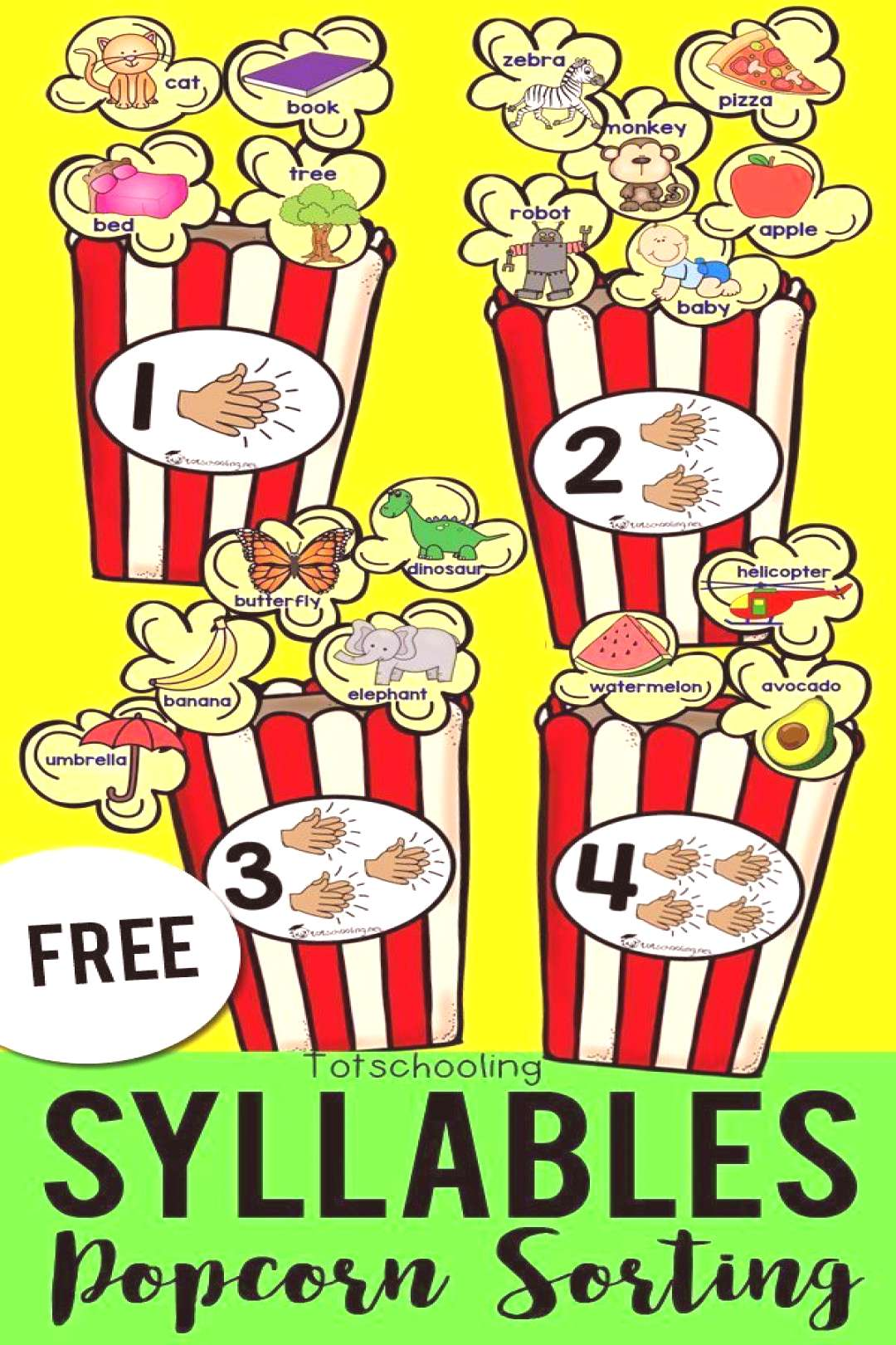 FREE printable sorting activity for preschool and kindergarten kids to sort syllables with a fun po