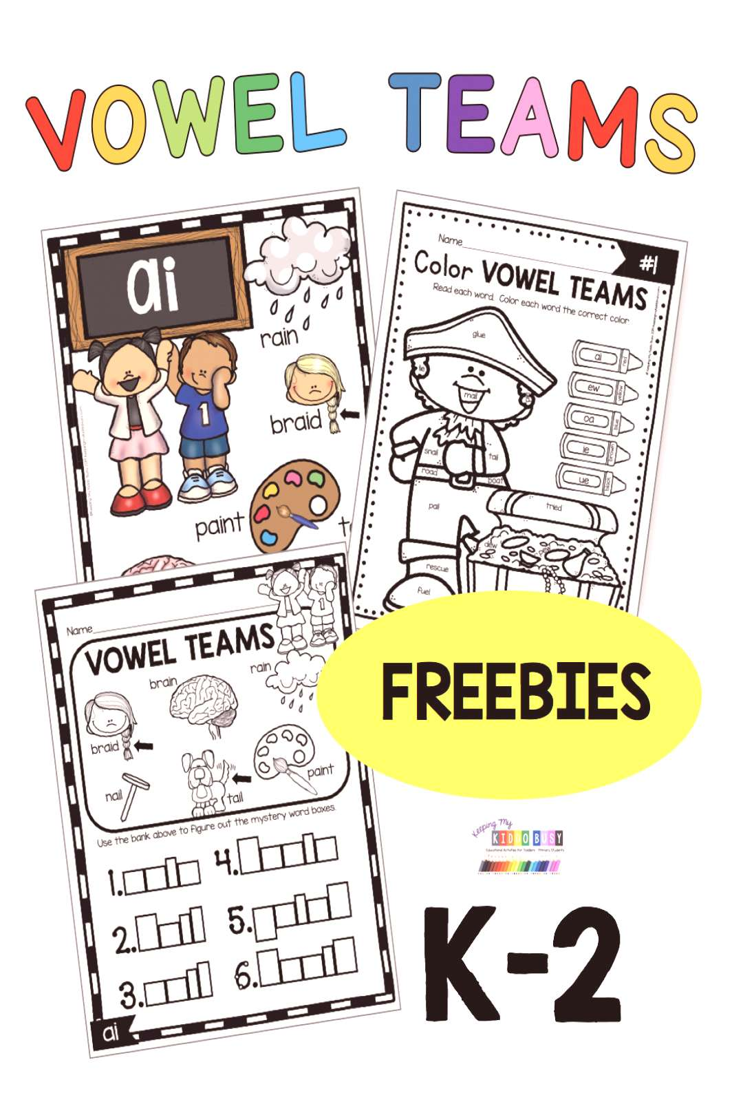 FREE Vowel Teams Activities and worksheets amp kindergarten first grade second grade phonics lessons