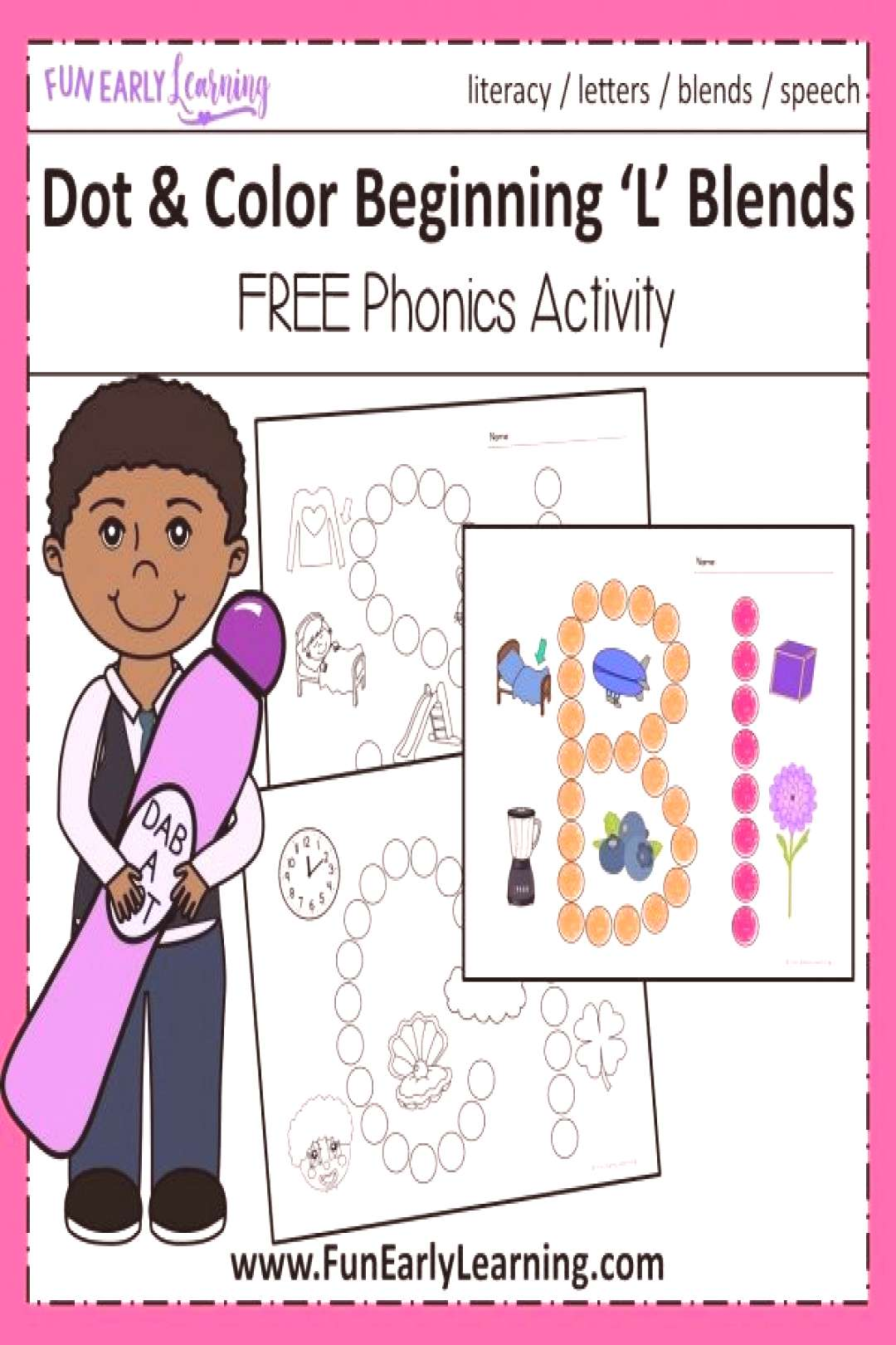 Fun Dot and Color Beginning L Blends Free Worksheets! Great beginning blends activities for prescho