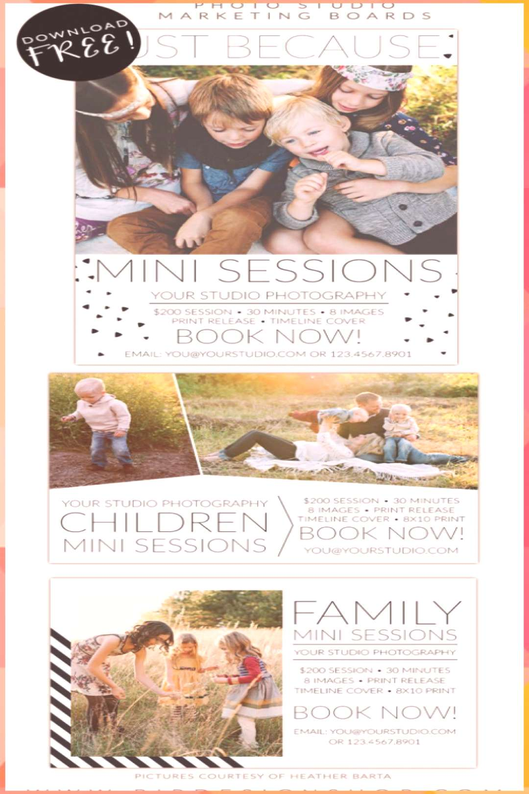Happy Holidays and FREE marketing boards | Photoshop templates for photographers...