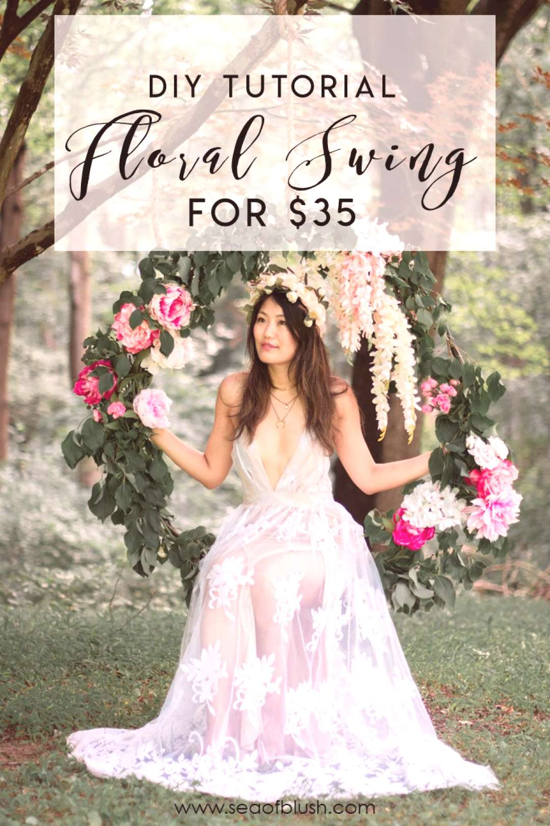 How to Build a Flower Swing for under $50 as a Photography Prop DIY. The perfect photo prop for we