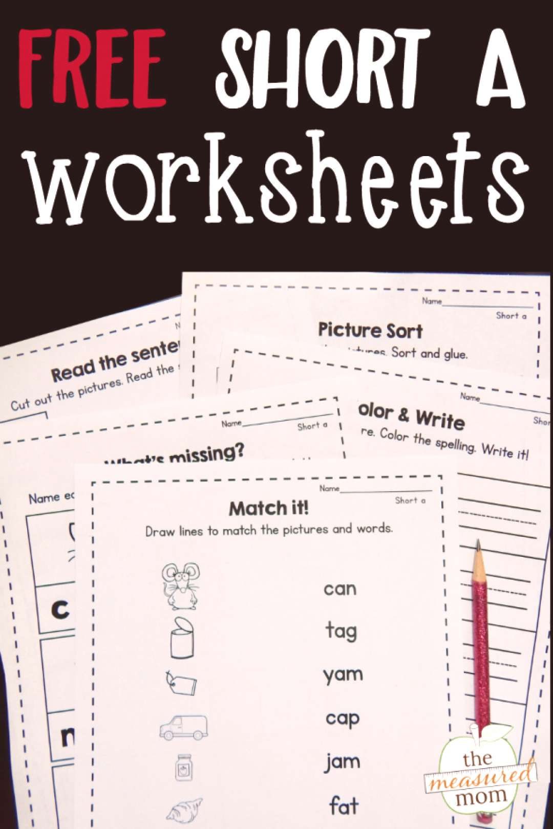 I love this free bundle of nine short a worksheets! Great for review and reinforcement!