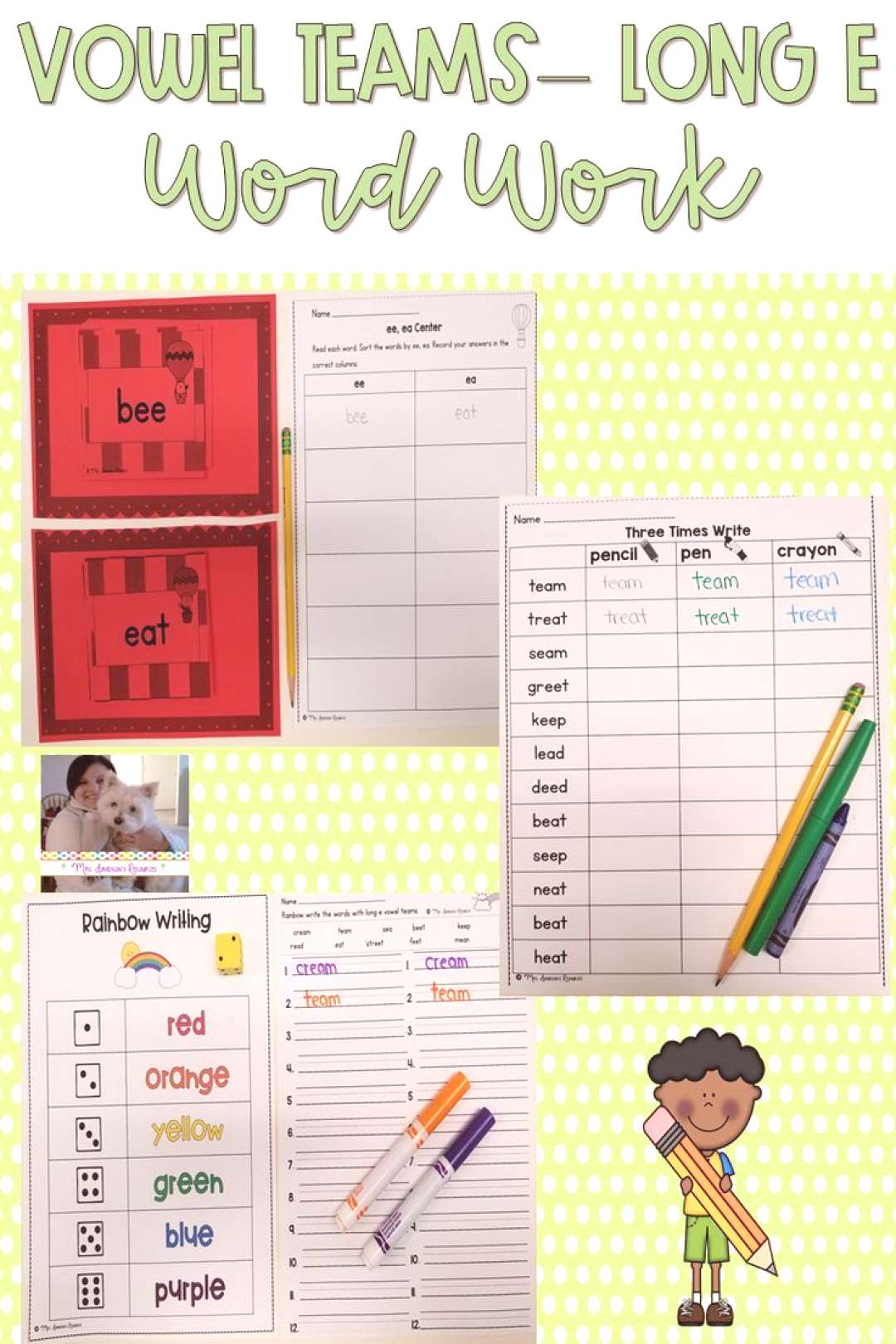 Long e Vowel Teams Word Work These hands-on and engaging long e with vowel teams work activities wi