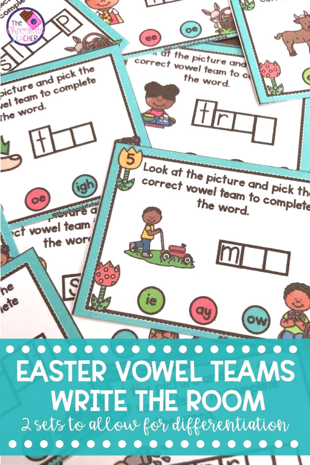 Long Vowel Teams Write the Room Activity Spring Bunny amp Eggs Lets Write the Room with long vowel t