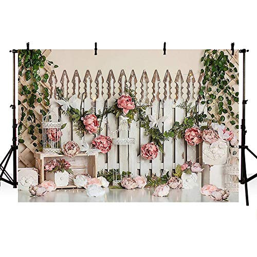 MEHOFOND Spring Pink Floral Photography Backdrop Happy