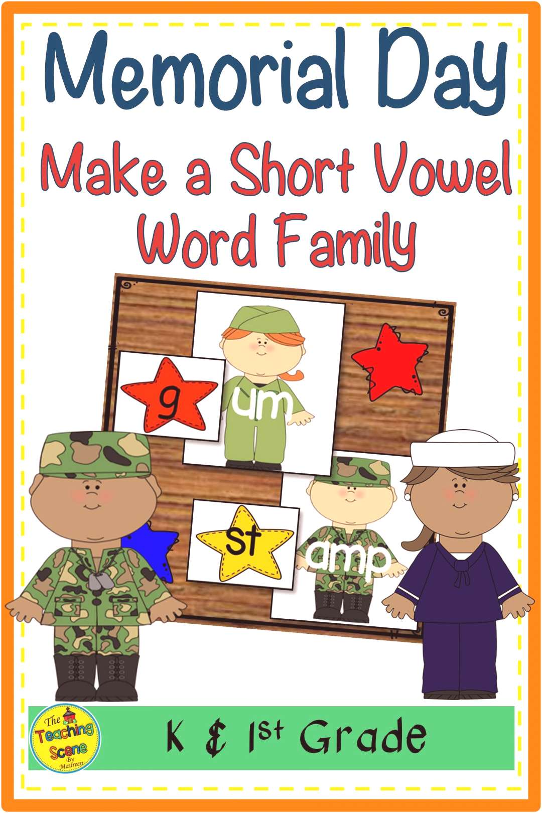 Memorial Day Make a Short Vowel Word Family Do you need a Memorial Day phonics center or activity?