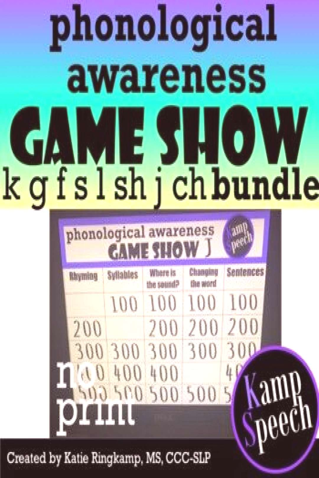 quotNo Print Speech Therapy Activities Phonological Awareness Game Show Bundlequot is a fun resource tha