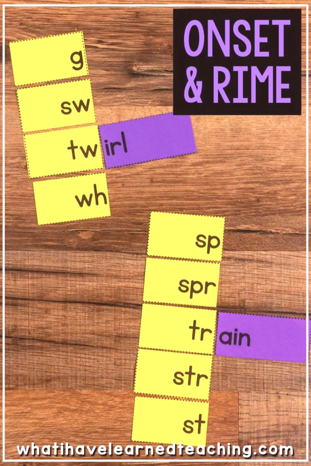 Onset and Rime Matching Cards, Flip Books amp Word Lists • What I Have Learned Teaching children th