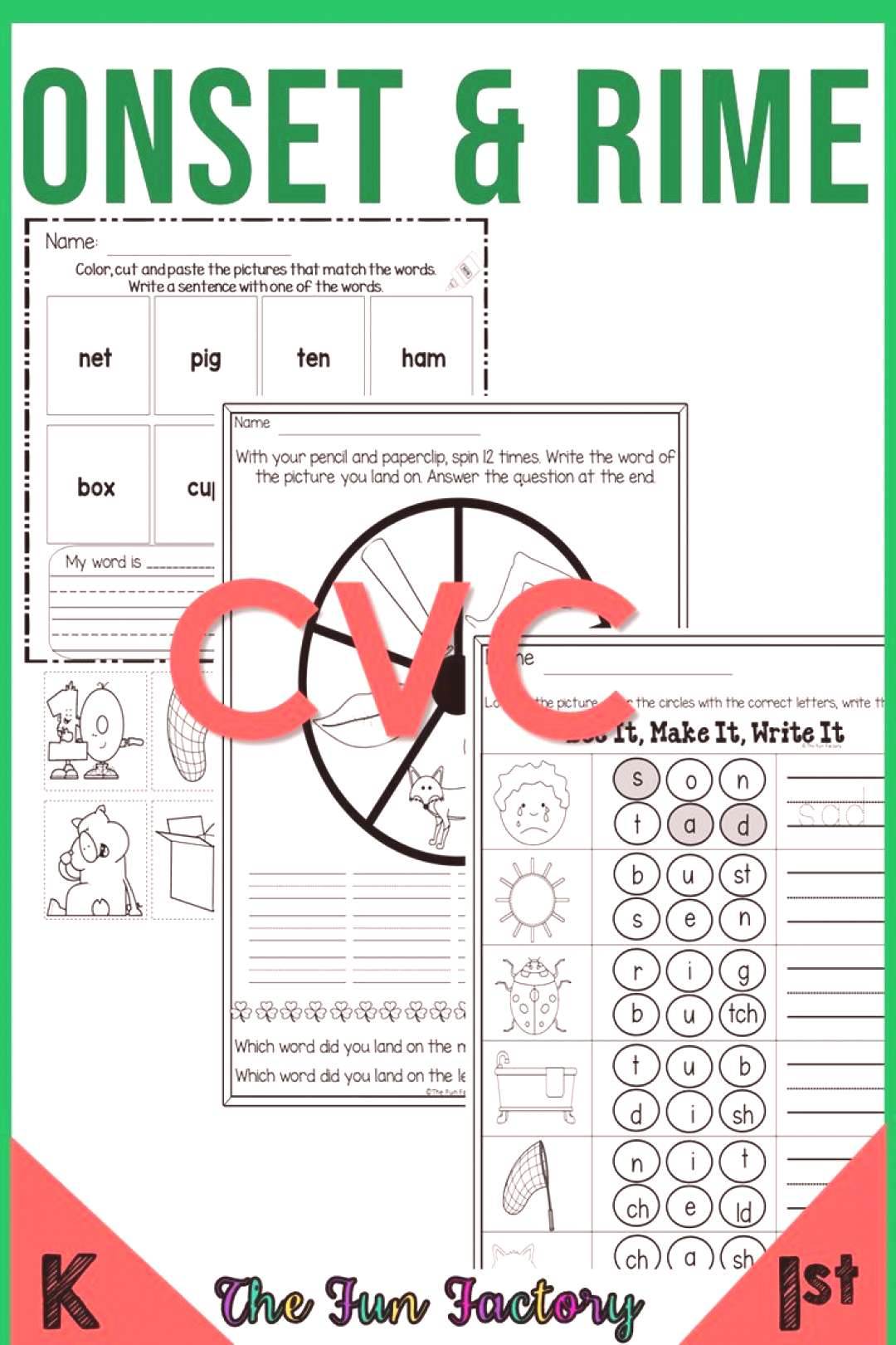 Onset and Rime | Phonics | Kindergarten amp First Grade Onset and rime phonics worksheets and phonics