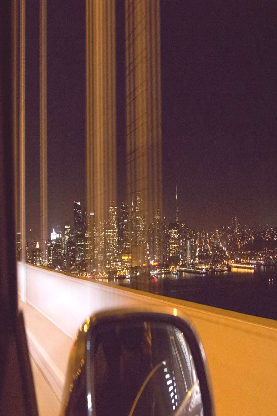 Passing bybright city lights -
