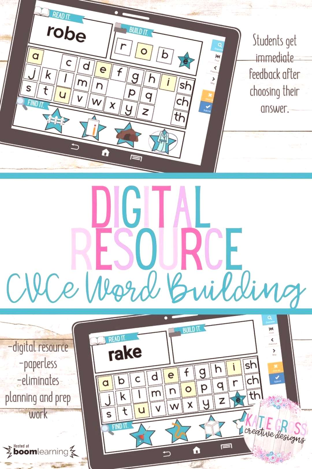 Phonics Word Building CVCe words Students can practice reading and building word with 3 sounds usi