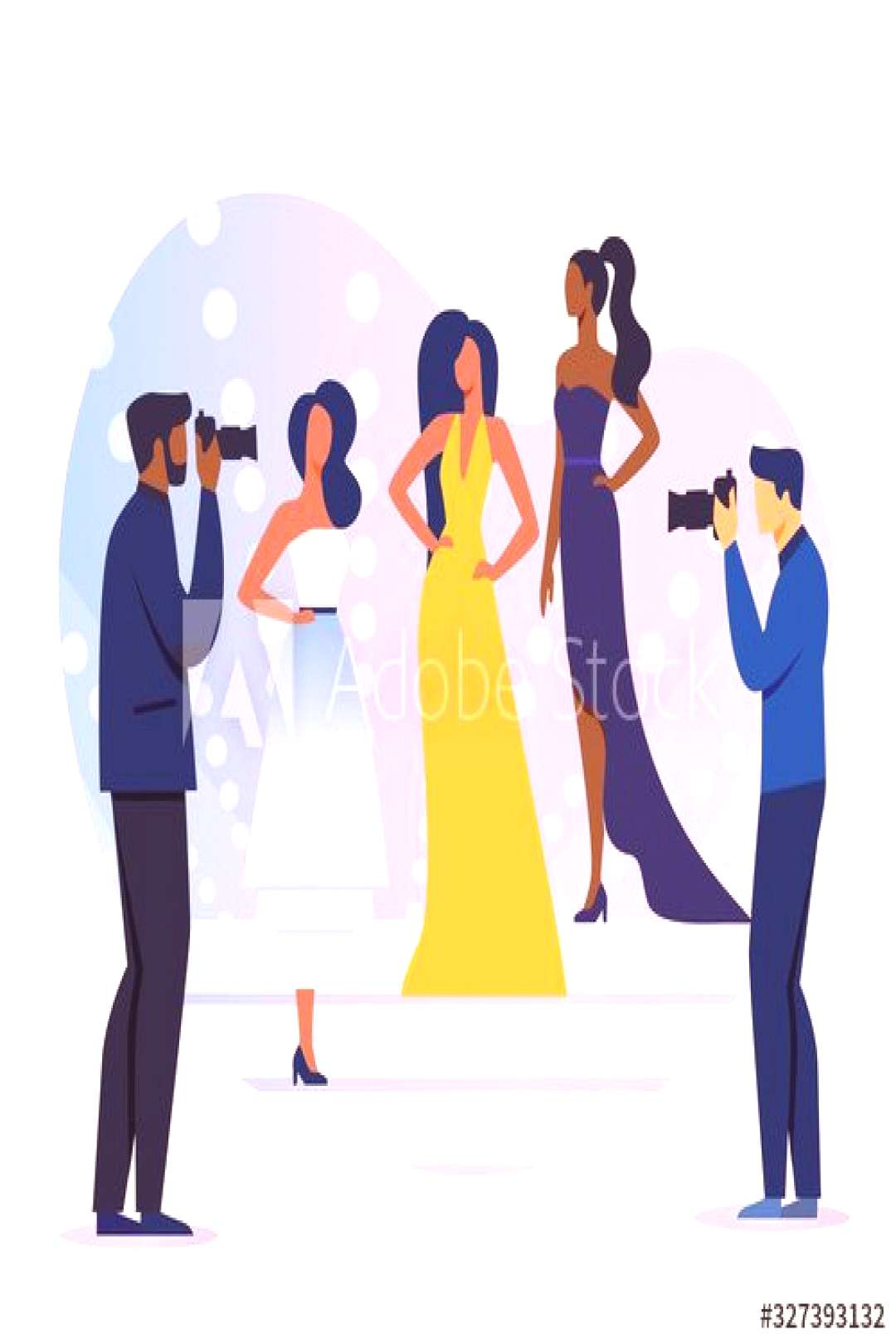 Professional Photoshoot Flat Vector Illustration. Young Models and Photographers Cartoon Characters