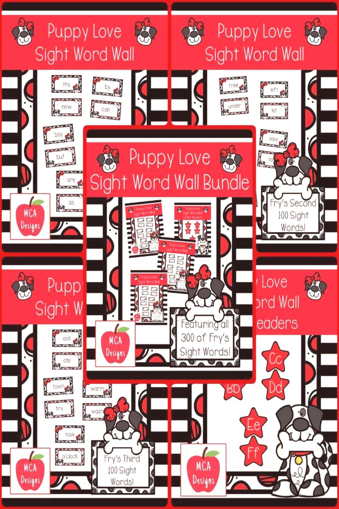 Puppy Love - Sight Word Wall Bundle This bundle features all 300 of Frys sight words! 183 pages of