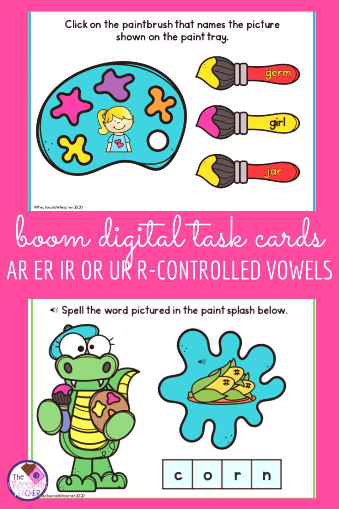 R Controlled Vowels AR ER IR OR UR BOOM Digital Task Cards Teaching the R Controlled vowels to firs