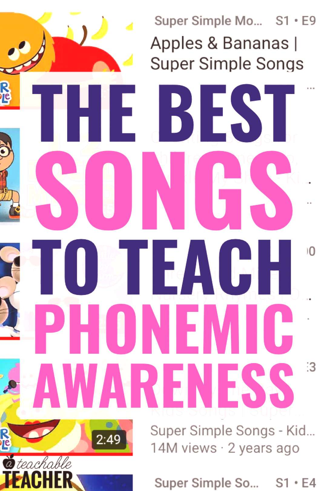 Songs are an excellent way to build phonemic awareness skills because they focus on the task of lis