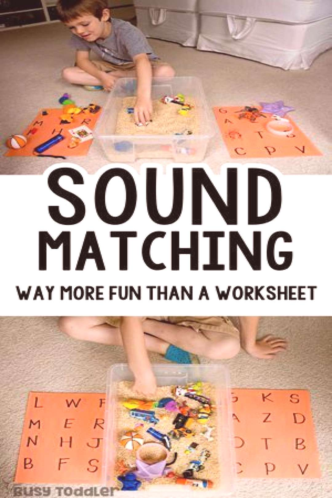Sound Matching Bin An Easy Phonics Activity - Busy Toddler - education -