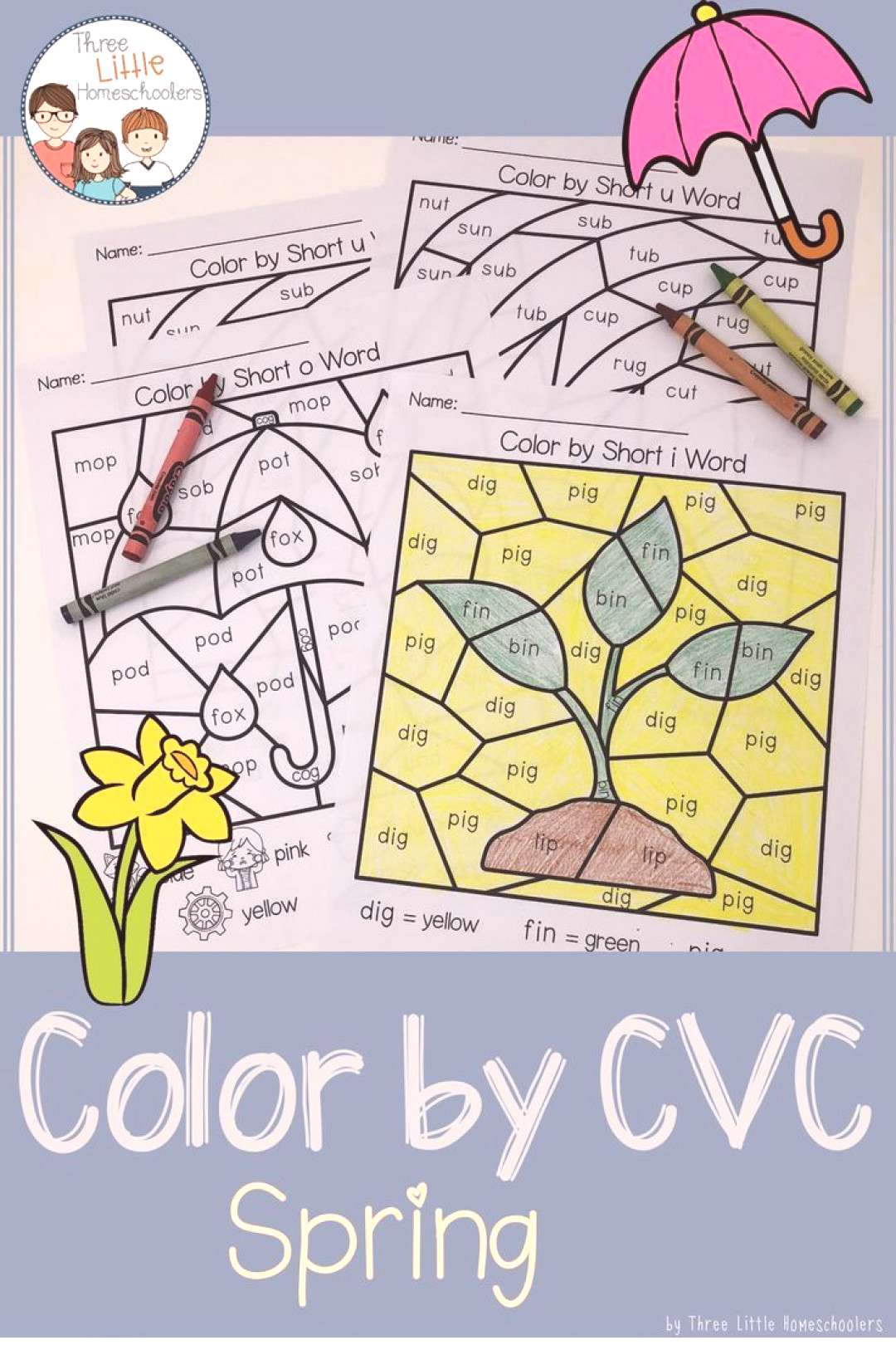 Spring Color by CVC Word Practice CVC words and enjoy Spring with these fun Color by CVC Spring-the