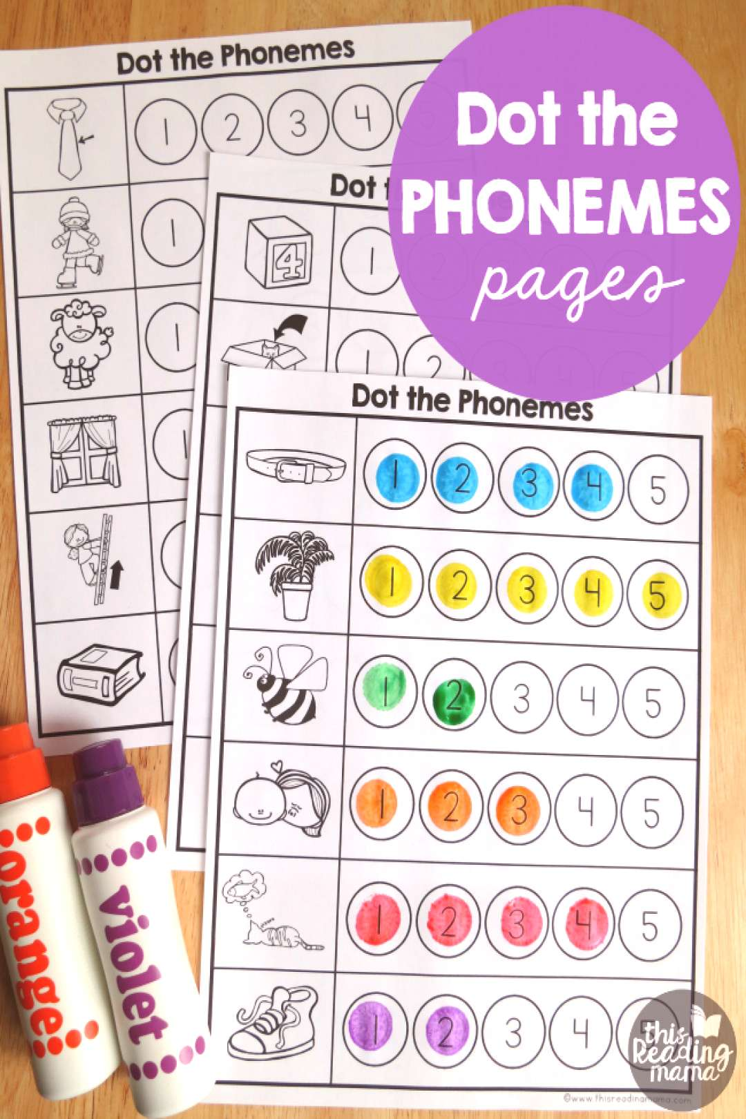 These free Phonemes Worksheets are a fun way for kids to count the individual sounds in words and a