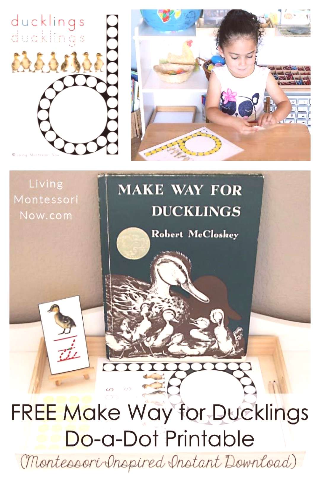 This free Make Way for Ducklings do-a-dot printable is a Montessori-inspired printable for home or