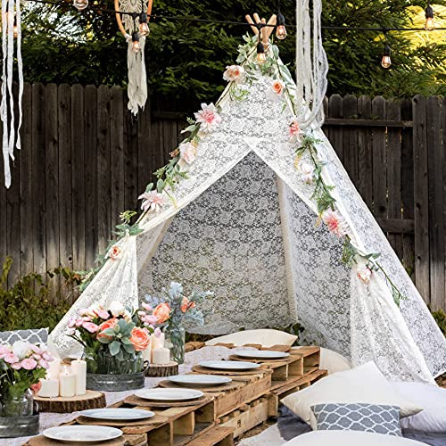 Tiny Land Huge Lace Teepee Tent for Adult with Carry Bag,