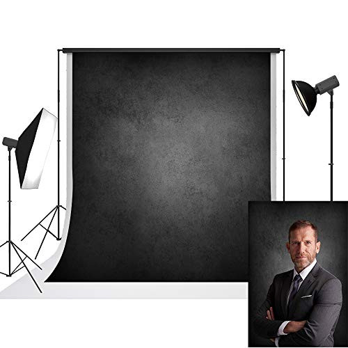 UrcTepics 5x7ft Pro Microfiber Abstract Black Background for