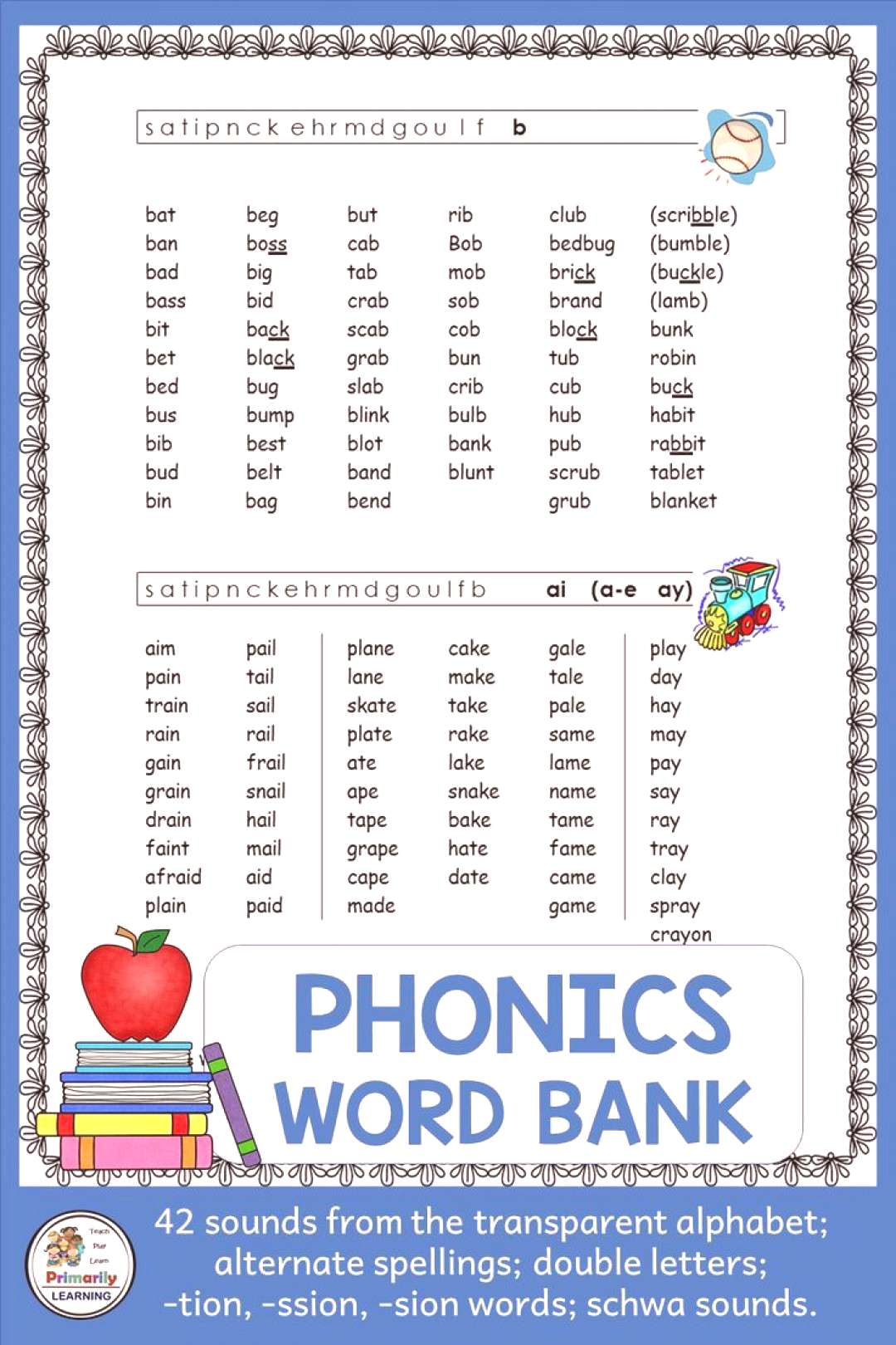 Word Bank supports Jolly Phonics Sounds Are you looking for PHONICS WORD BANKS that follow the same