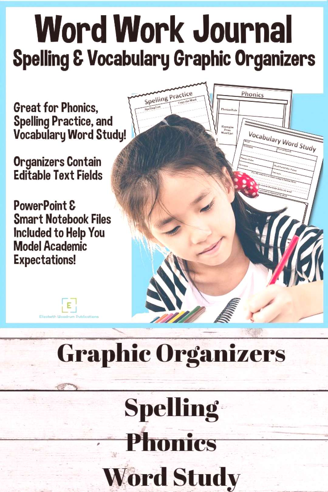 Word Work Journal contains three graphic organizer templates that can be used with vocabulary and/o
